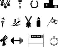 sport två för silhouettes för spelare för bollfotbollsymboler Arkivfoto