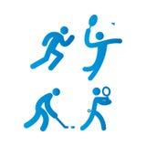 sport två för silhouettes för spelare för bollfotbollsymboler Arkivfoton
