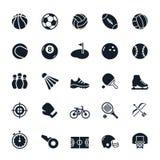 sport två för silhouettes för spelare för bollfotbollsymboler Royaltyfri Fotografi