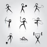 sport två för silhouettes för spelare för bollfotbollsymboler Royaltyfria Bilder