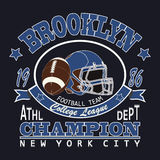 Sport-Typografie-Brooklyn-Fußball Lizenzfreie Stockfotos