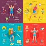 Sport und Eignung Infographic-Fahnen vektor abbildung
