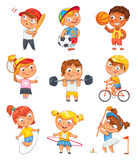 Sport und Eignung Lustige Zeichentrickfilm-Figur vektor abbildung