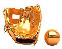 Sport und Freizeit: goldener Baseballhandschuh Lizenzfreies Stockbild
