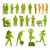 Sport und körperlicher Untätigkeit silouete Satz Gute und schlechte Gewohnheiten Überlagerte vektorabbildung Lizenzfreies Stockbild