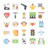 Sport und Spiel-Ebene farbige Ikonen 6 Lizenzfreie Stockfotos