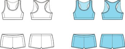 Sport underwear. Vector illustration of womens sport underwear. Bra and shorts. Front and back views stock illustration