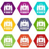 Sport uniform icon set color hexahedron. Sport uniform icon set many color hexahedron isolated on white vector illustration Stock Photo