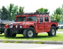 Sport Utility. Picture of the red sport utility vehicle - Hummer Truck Royalty Free Stock Images