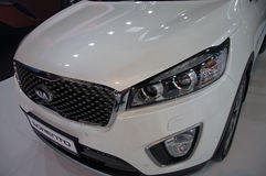 2017 sport utility Kia Sorento crossover vehicle. Premiere and promotion of the elegant, innovative and attractive sport utility vehicle SUV KIA Sorento model at Royalty Free Stock Image