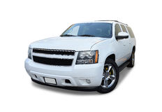 Sport utility vehicle. White sport utility vehicle on a white background royalty free stock images