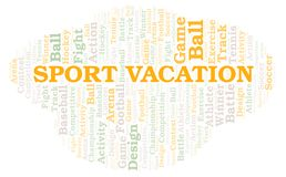 Sport Vacation word cloud. Wordcloud made with text only stock illustration