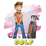 Sport van het beeldverhaal de vectorgolf met gescheiden lagen voor spel en animatie vector illustratie