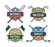 Sport Vector Emblems. Vector set of retro styled sport emblems. Team sport badges and design elements. Colored version Royalty Free Stock Image