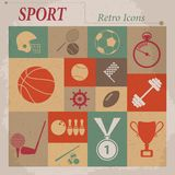 Sport vector flat retro icons Stock Photography