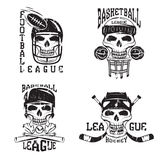 sport vector grunge labels set with skulls Stock Images