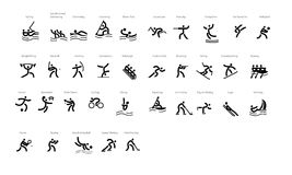 Sport vector icons - Olympyc games. Vector Sport Icons (black and white) with name of the sport for each symbol Royalty Free Stock Photography