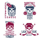 sport vector labels set with skulls Royalty Free Stock Images