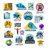 Sport vector logo design template. spotrsmen or Royalty Free Stock Photography
