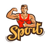 Sport vector logo. gym, fitness or bodybuilding icon Stock Photo