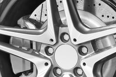 Sport vehicle disc brake and alloy wheels detail Stock Photo