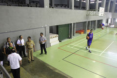 Sport venue. Officer checking sport venue ahead of national olympic games in solo, central java, indonesia Stock Photos