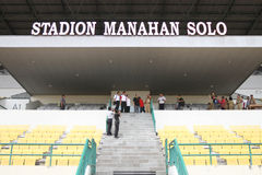 Sport venue. Officer checking sport venue ahead of national olympic games in solo, central java, indonesia Stock Image