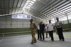 Sport venue. Officer checking sport venue ahead of national olympic games in solo, central java, indonesia Royalty Free Stock Photo