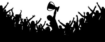 Sport victory cup. Cheering crowd fans silhouette. Ð¡rowd of people sport fans, vector. Cheers of applause stock illustration
