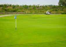 Sport view landscape sand bunker and green grass pattern of golf Royalty Free Stock Photo