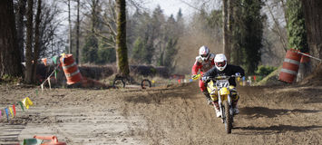 Sport vintage motocycle race. Woodland, WA/USA-FEBRUARY 9: Motocross vintage motocycle race. American small town track. February 9, 2013 in Woodland, Washington Stock Photography