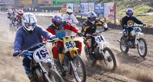 Sport vintage motocycle race. Woodland, WA/USA-FEBRUARY 9: Motocross vintage motocycle race. American small town track. February 9, 2013 in Woodland, Washington Royalty Free Stock Photo