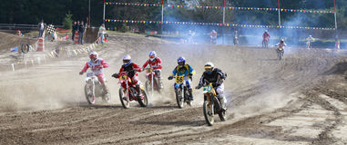 Sport vintage motocycle race. Woodland, WA/USA-FEBRUARY 9: Motocross vintage motocycle race. American small town track. February 9, 2013 in Woodland, Washington Royalty Free Stock Photography