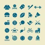 Sport vlak die pictogram voor Web en mobiele set01 wordt geplaatst Stock Afbeelding