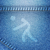 Sport volley ball. Icon on jean background stock images