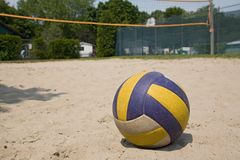 Sport volleyball ball. On sand Royalty Free Stock Photo