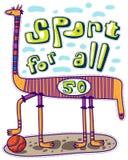 Sport voor allen Dier en basketbal Royalty-vrije Stock Foto's