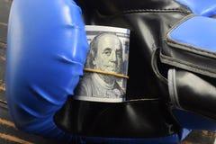 Sport voor geld, die voor geld in dozen doen dollars en bokshandschoenen Royalty-vrije Stock Foto
