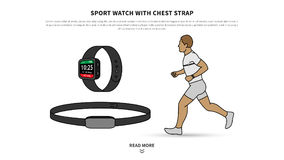Sport watch with chest strap vector illustration Royalty Free Stock Photography