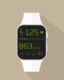 Sport watch. Flat illustration of sport watch with heart rate, calories burned and weather royalty free illustration