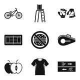 Sport watch icons set, simple style. Sport watch icons set. Simple set of 9 sport watch vector icons for web isolated on white background Stock Images