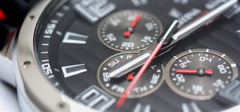 Sport watch. Multifunction black dial of the sport watch Royalty Free Stock Image