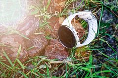 Sport watch for running white color on the ground in the grass. Fitness watch for tracking daily activity and strength training. Sport watch for running white royalty free stock photos