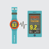 Sport Watch With Smartphone Activity Tracking Synchronize Royalty Free Stock Photography