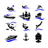 Sport. Water sports. Active holiday by the sea. The icons set. Royalty Free Stock Photo