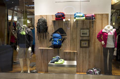 Sport wear outdoor clothing store stock image