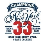 Sport wear typography emblem, t-shirt stamp graphics. T-shirt stamp graphics, New York City Sport wear typography emblem, tee print, athletic apparel design vector illustration