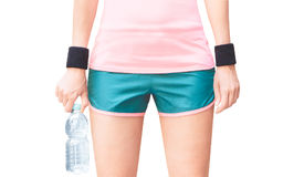 Sport wear, woman with water. Fitness wear or equipments, woman Stock Photo
