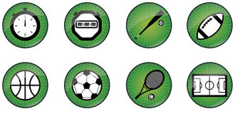 Sport web buttons. Sport iconset consisting of 8 icons: analogic stopwatch, digital stopwatch, baseball bat and ball, football, basketball, soccer ball, tennis Stock Photos