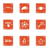 Sport website icons set, grunge style. Sport website icons set. Grunge set of 9 sport website vector icons for web isolated on white background Stock Images
